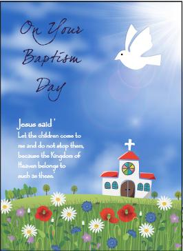 baptism card dove and church meadow