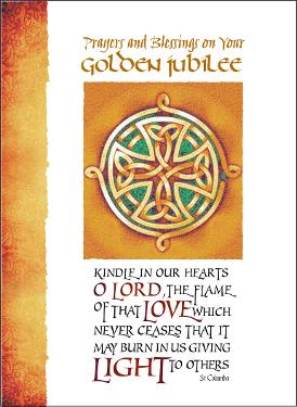 priest golden jubilee card celtic cross design
