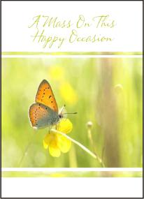 catholic happy occasion mass card butterfly sunshine