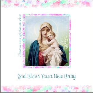 christian new baby card madonna and child