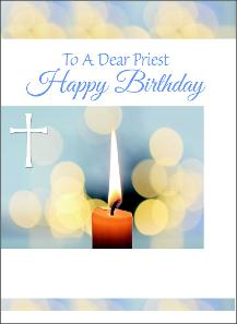 priest birthday cards blue candles