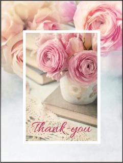 christian thank you card pink flowers vase